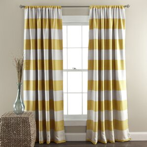 Bailey Striped Blackout Thermal Curtain Panels (Set of 2)