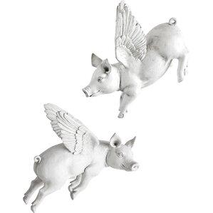 2-Piece Flying Pig Wall Decor Set (Set of 2)