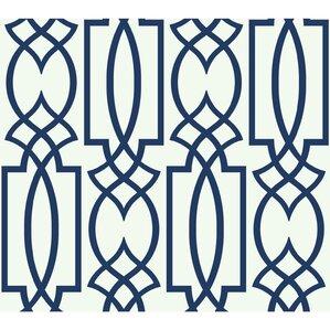 Coral Deco Trellis Wallpaper