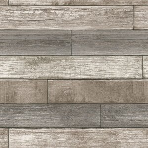 """Watson 18' x 20.5"""" Reclaimed Wood Plank Natural Peel and Stick Wallpaper"""