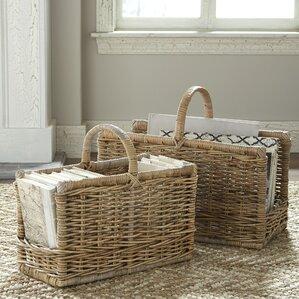 2-Piece Wicker Magazine Basket Set (Set of 2)