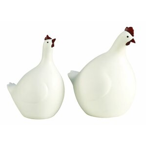 2-Piece Hen and Rooster Figurine Set