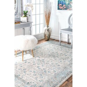 Kari Ivory & Cream/Blue Area Rug