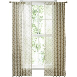 Becky Ikat Trellis Rod Pocket Single Curtain Panel