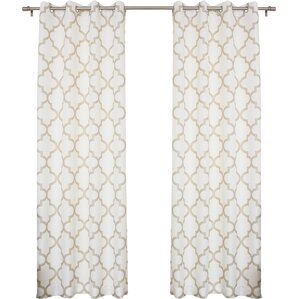 Brianna Moroccan Print Semi-Opaque Grommet Top Curtain Panel Pair (Set of 2)