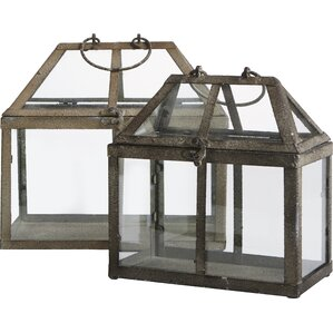 2-Piece Tiffany Glass Terrarium Set