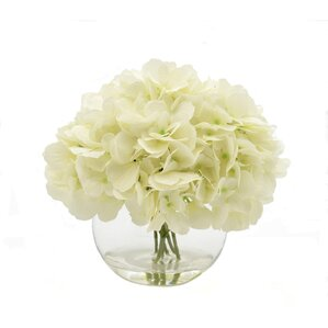 Faux White Hydrangea in Glass Bubble Vase