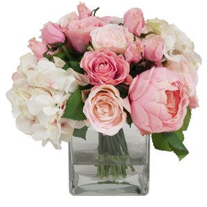 Faux Pink & White Assorted Flowers in Glass Vase