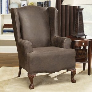 Stretch Leather Wing Chair Slipcover  by Sure Fit