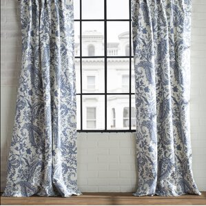 Samantha Paisley Semi-Opaque Single Rod Pocket Curtain Panel