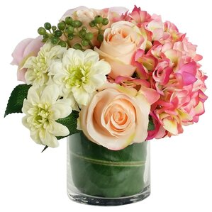 Artificial Silk Mixed Floral Arrangements in Decorative Vase