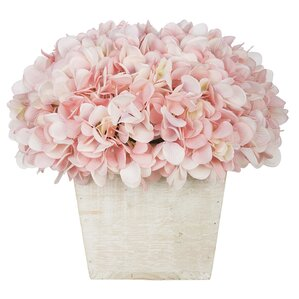 Faux Hydrangea in Whitewashed Wood Cube