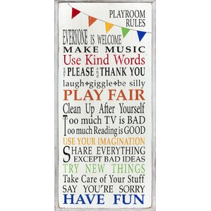 Lawrence Playroom Rules Wall Plaque