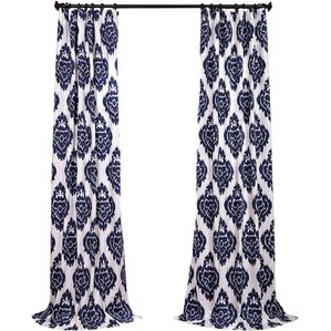 Zachary Ikat Semi-Opaque Rod Pocket Single Curtain Panel