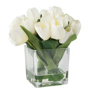 Faux White Tulips in Glass Vase