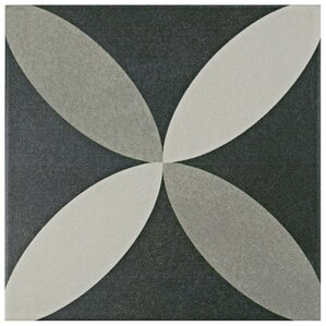 """Forcier 7.75"""" x 7.75"""" Ceramic Floor and Wall Tile in Petal White and Gray"""