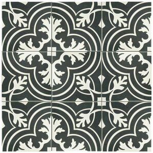 """Forcier 7.75"""" x 7.75"""" Ceramic Floor and Wall Tile in White and Gray"""