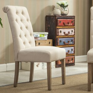 Bersum Solid Wood Button Tufted Side Chair (Set of 2)