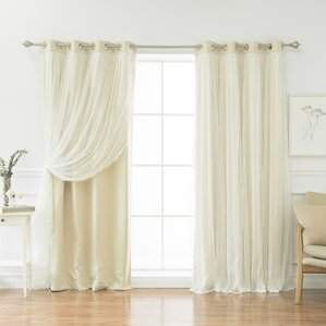 Samantha Dotted Lace Thermal Blackout Energy Efficient Grommet Curtain Panel Pair (Set of 2)