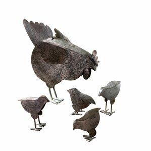 5-Piece Hen & Chicks Garden Statue Set