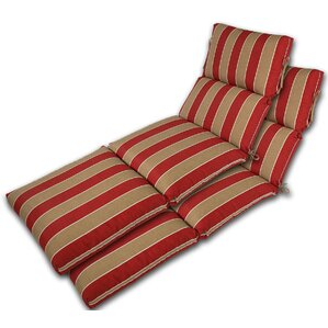 channeled reversible outdoor chaise lounge cushion set of 2
