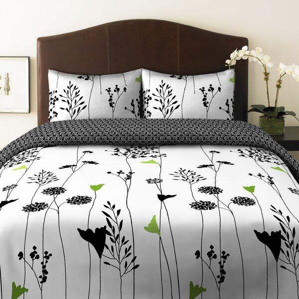 perry ellis asian lily reversible comforter set & reviews | wayfair