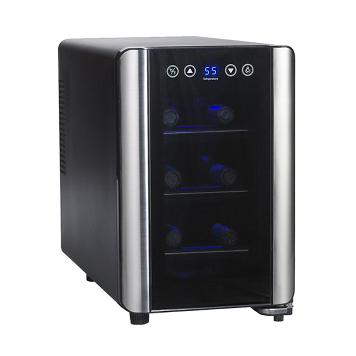 6 bottle silent series single zone wine cooler