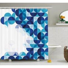 Grafton Modern White Circles Shower Curtain