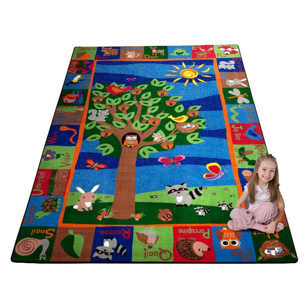 Kid Carpet Forest Animal Alphabet Multi Colored Area Rug