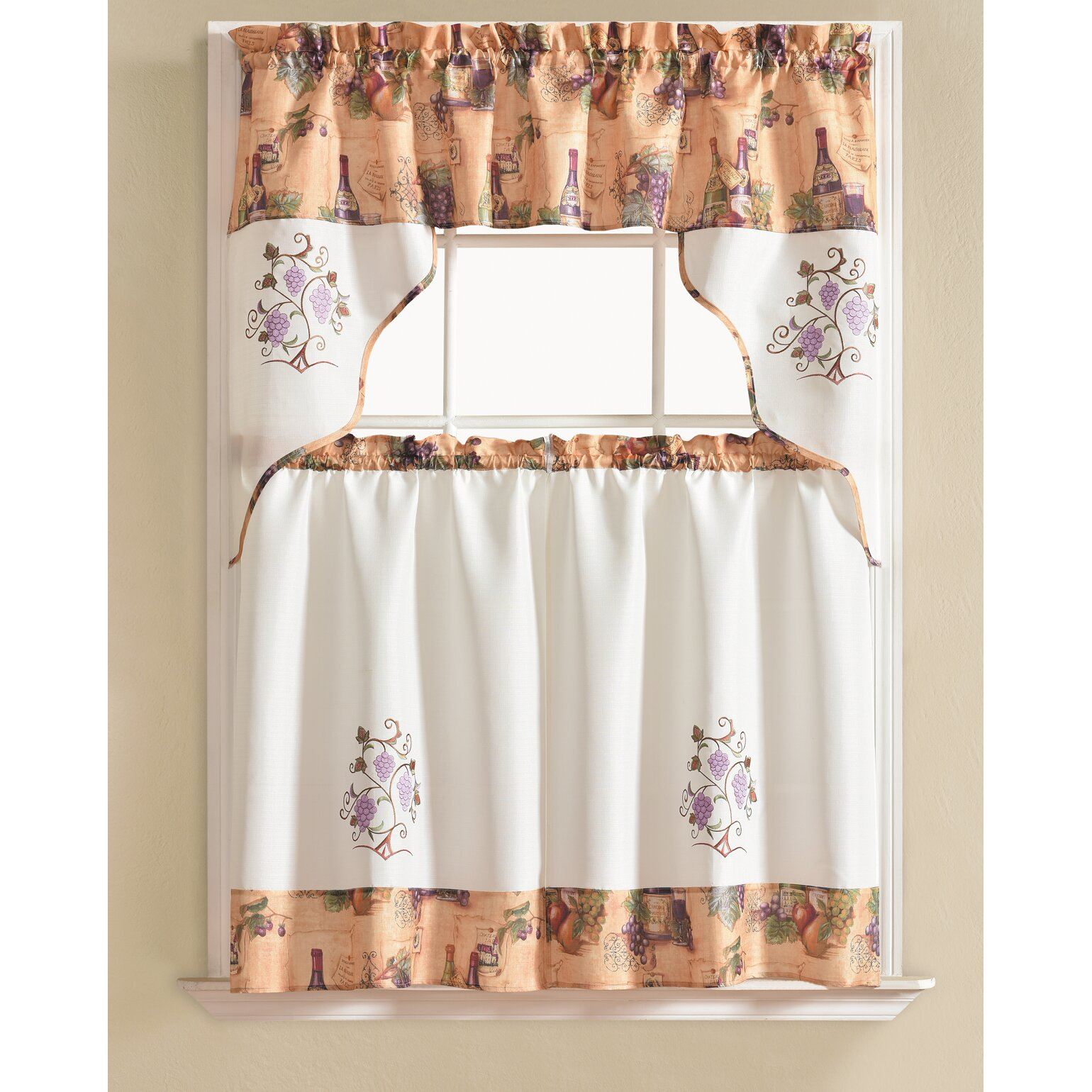 Winston Porter Werner Grape 3 Piece Kitchen Curtain Set