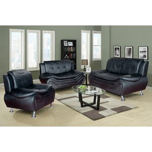 Algarve 3 Piece Leather Living Room Set