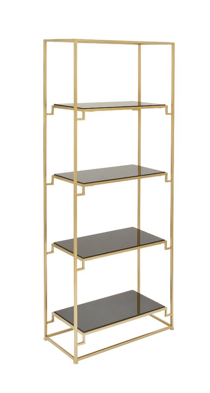 cole grey metal glass 63 etagere bookcase reviews wayfair. Black Bedroom Furniture Sets. Home Design Ideas