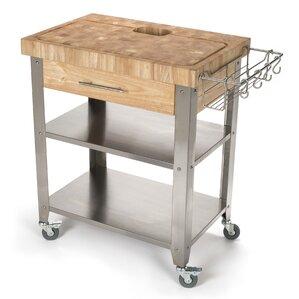 Pro Stadium Kitchen Cart With Butcher Block Top