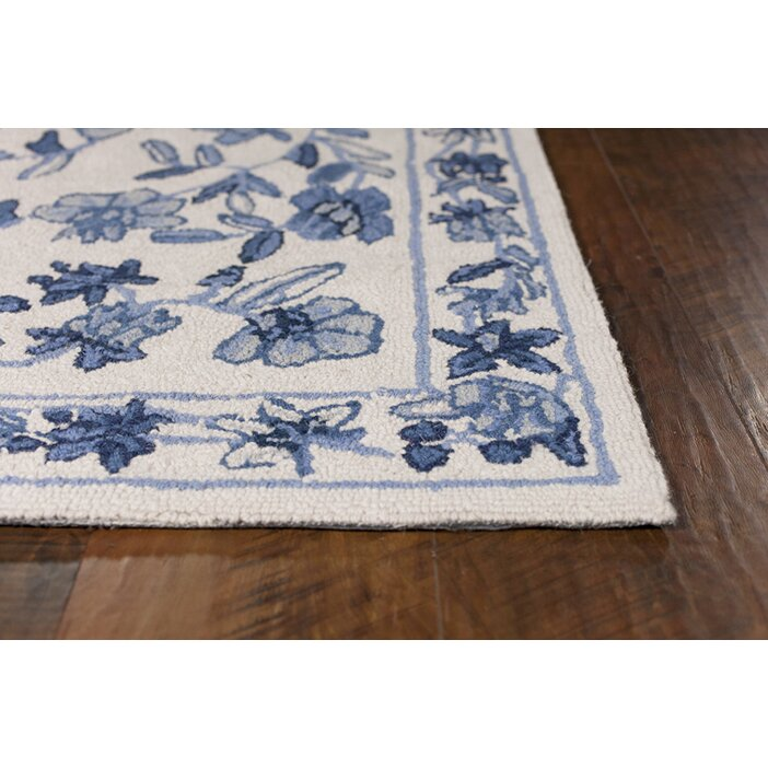 Woolrich Blue And White Floral Rug: August Grove Labrosse Ivory/Blue Floral Area Rug & Reviews