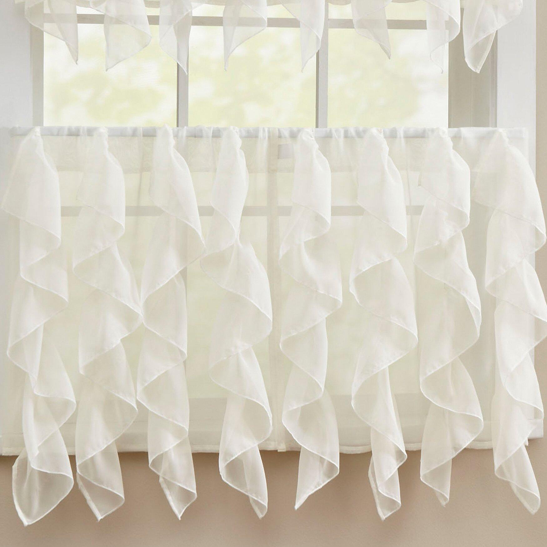 Ruffle window curtain - Chic Sheer Voile Vertical Ruffle Window Kitchen Tier Curtain