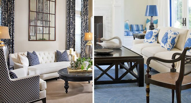 how to decorate a blue and white living room