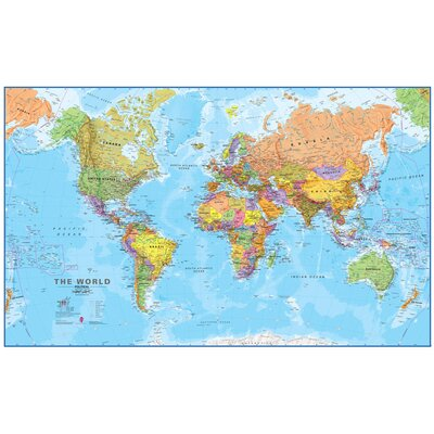 World Mega Map 120 Laminated Wall