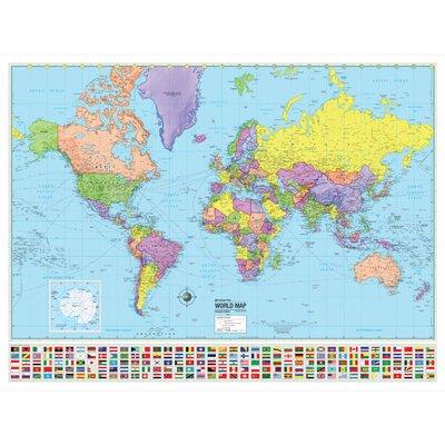 World Advanced Political Mounted Wall Map