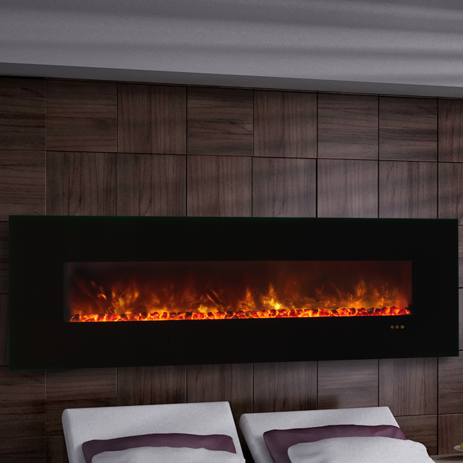 Modern electric fireplaces and wall mounts