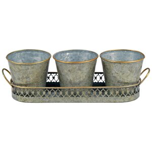 Lattice Edged Herb 3 Piece Cachepot Set