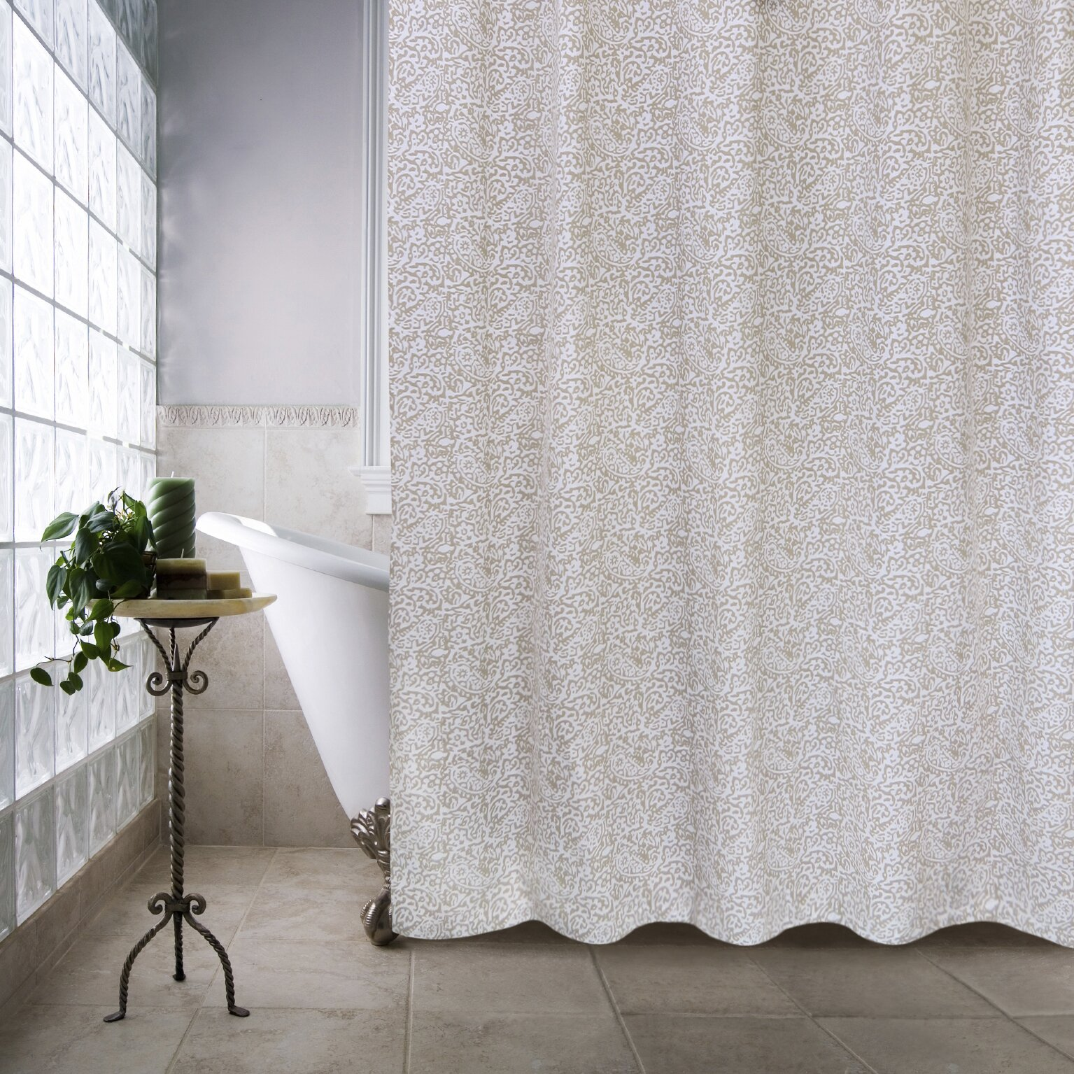 Ivory  Cream Ruffled Shower Curtains Youll Love Wayfair - Brown and turquoise shower curtain