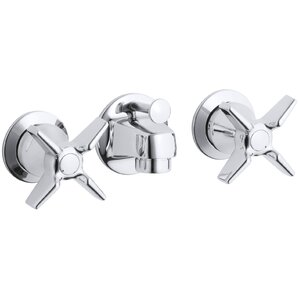 Triton Shelf-Back Commercial Bathroom Sink Faucet with Pop-Up Drain and Cross Handles