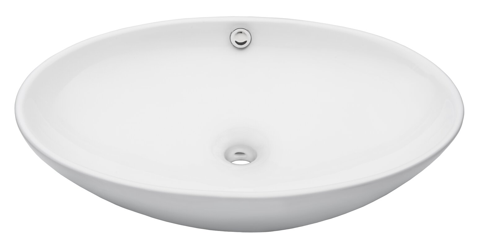 Oval vessel bathroom sink with overflow allmodern for Are vessel sinks out of style