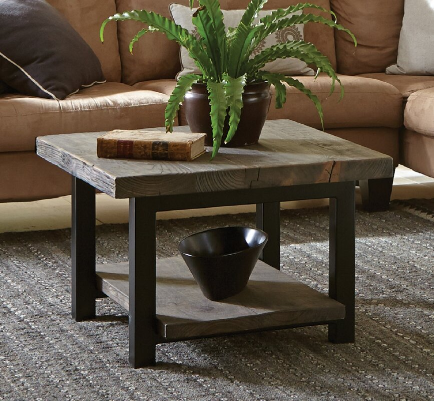 "loon peak somers 27"" reclaimed wood square coffee table & reviews"