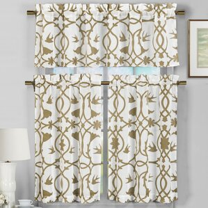Westervelt 3 Piece Faux Linen Kitchen Curtain Set