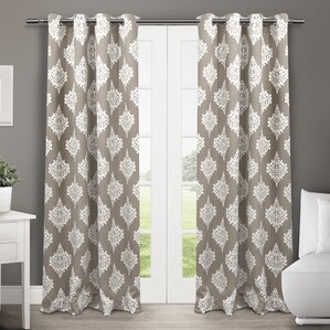 Fletcher Damask Blackout Thermal Grommet Curtain Panels (Set Of 2)