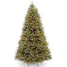 """Downswept Douglas 9"""" Green Fir Artificial Hinged Christmas Tree with 900 LED Multi Lights and Stand"""