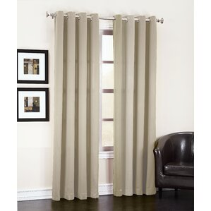 Groton Solid Semi Sheer Grommet Single Curtain Panel