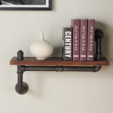 Rectangle Wood and Metal Floating Wall Shelf