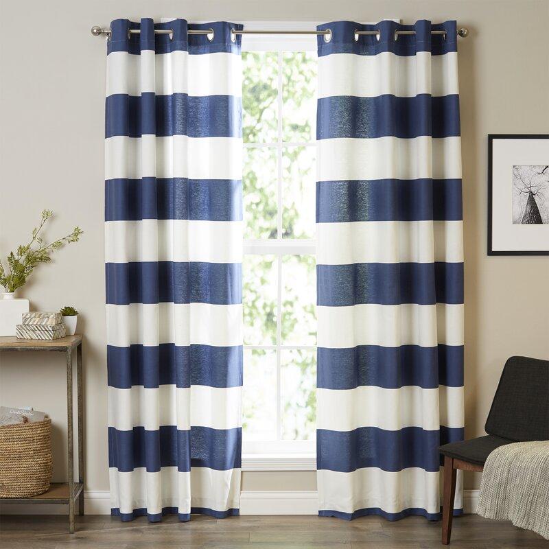nautica nautica cabana stripe curtain panels & reviews | wayfair